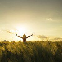 Mujer abre los brazos en campo de trigo