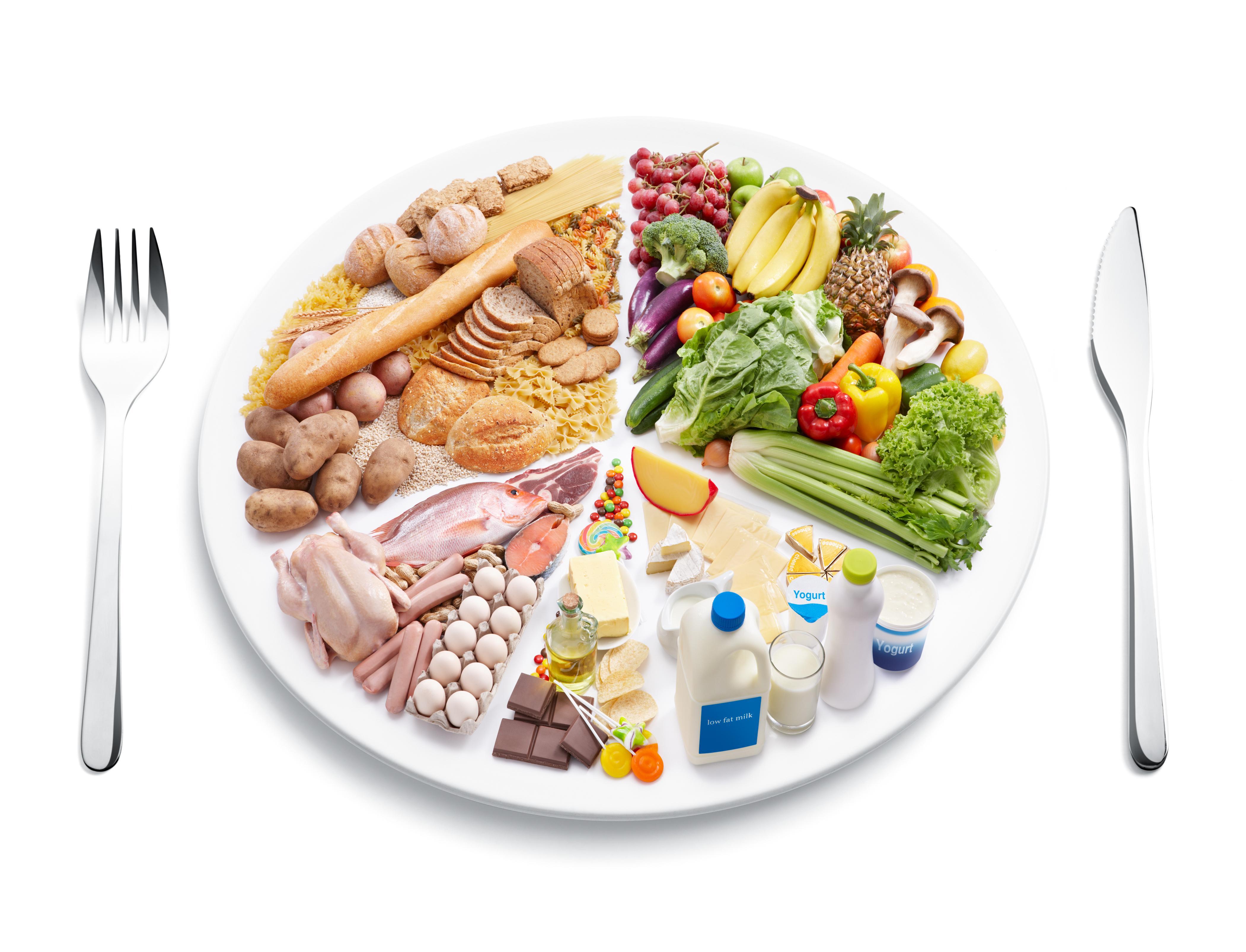 Rueda de los alimentos que simula un plato