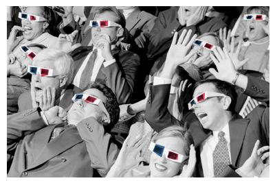 Público en película 3D en blanco y negro
