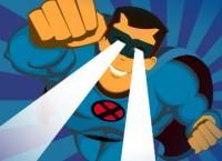 Ilustración superhéroe con rayos en los ojos