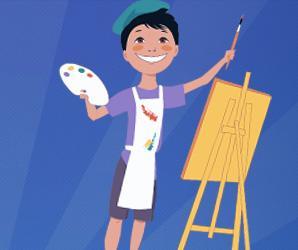 Ilustración pintor con caballete
