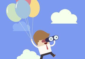 Ilustración hombre volando con globos y prismáticos