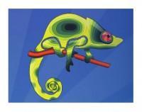 Infografía camaleón sobre rama