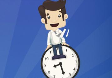 Ilustración hombre y reloj
