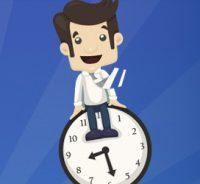 Ilustración hombre sobre reloj