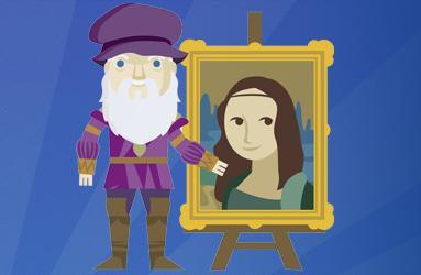 Ilustración Leonardo Da Vinci y Gioconda