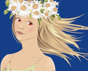 Ilustración mujer rubia con corona de flores