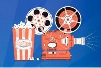 Ilustración cámara de cine y bol de palomitas