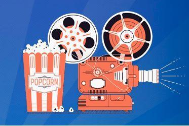 Ilustración palomitas y cámara de cine