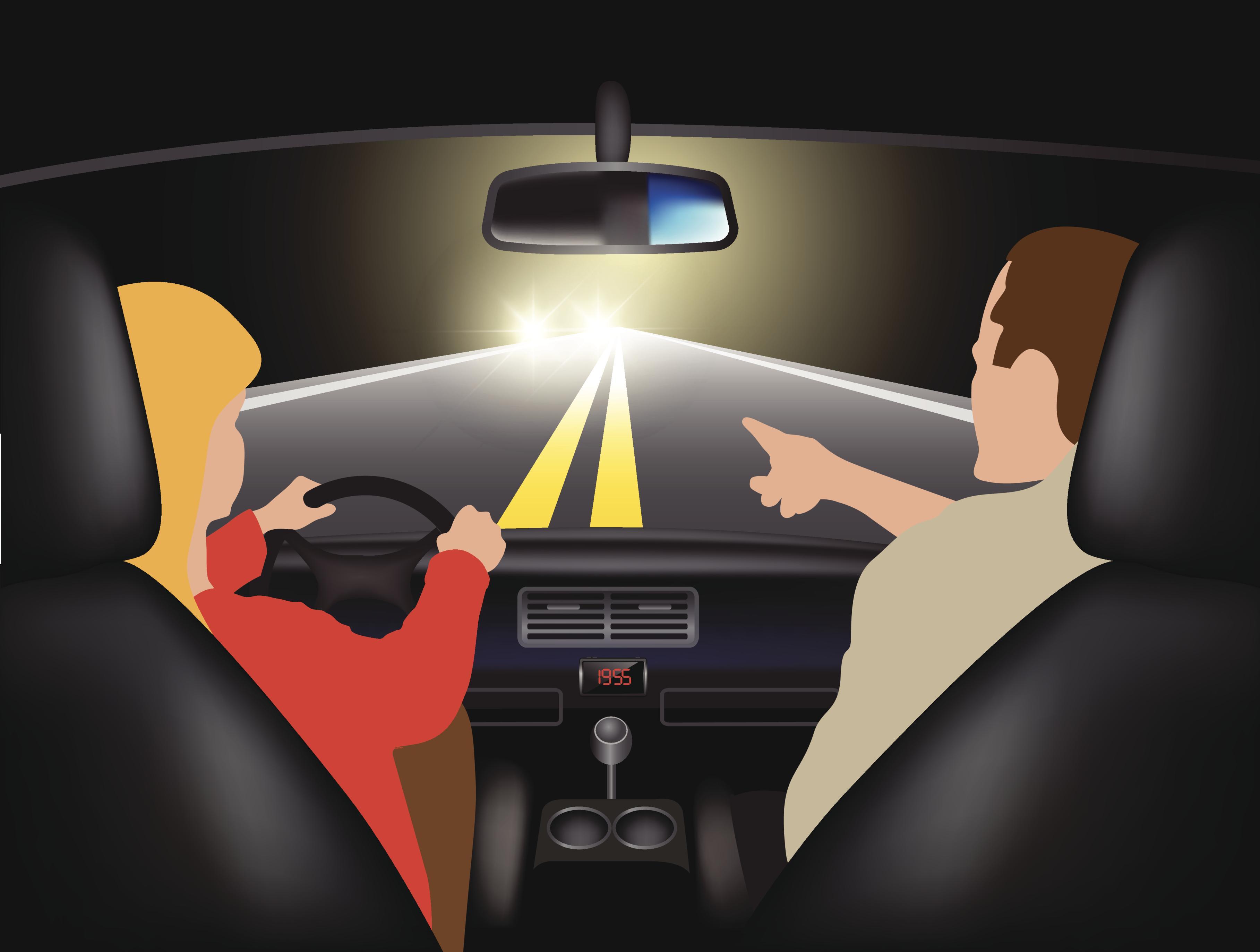 Ilustración pareja en coche