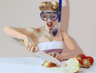 Ilustración mujer cortando cebolla