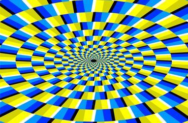 Ilusión óptica amarilla y azul
