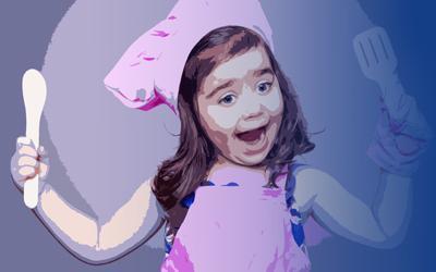 Ilustración niña con gorro de cocinero