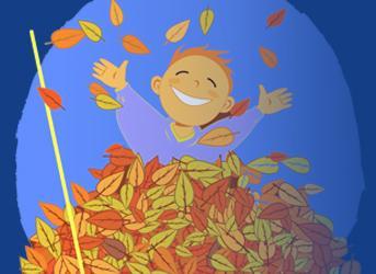 Niño jugando con hojas de los árboles