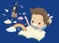 Ilustración niño, arcoiris y barco pirata