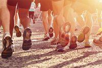 Pies grupo de corredores