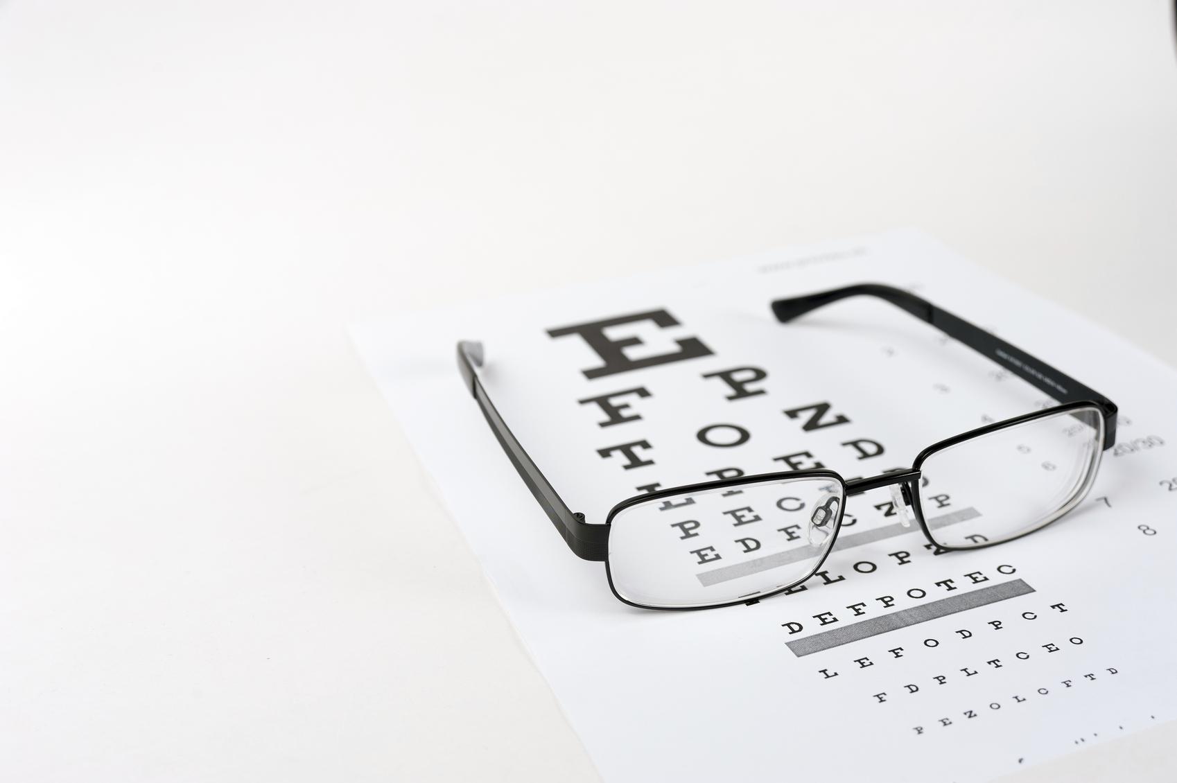 Gafas posadas sobre optotipo