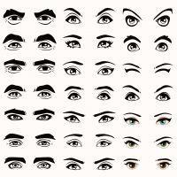 Ilustración tipo de ojos y cejas