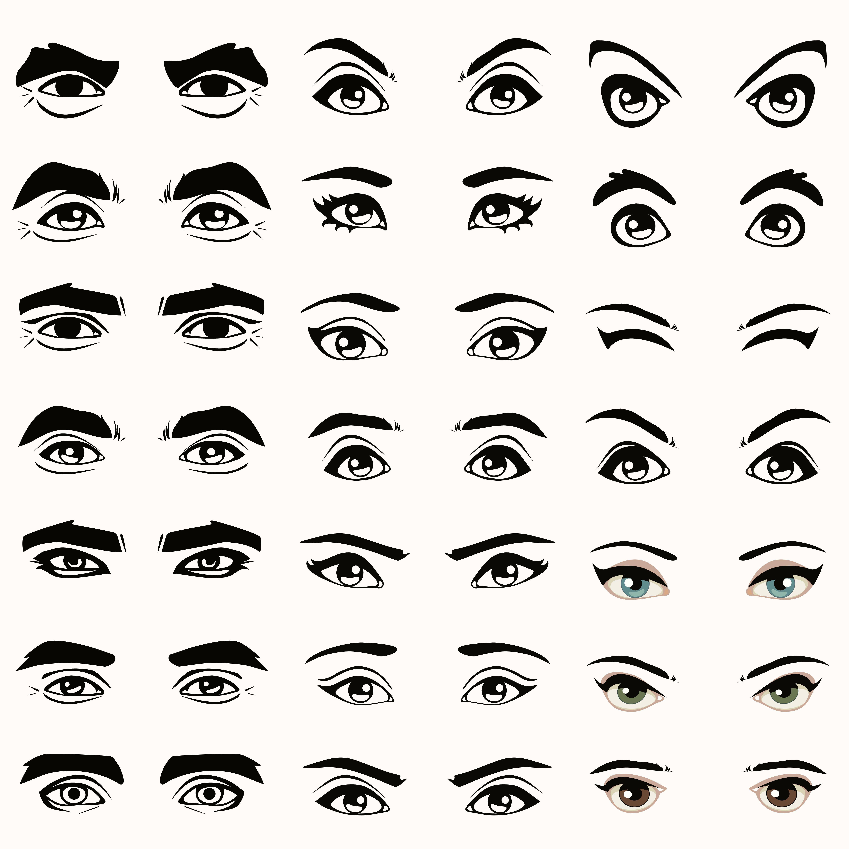Ilustración expresiones de ojos y cejas