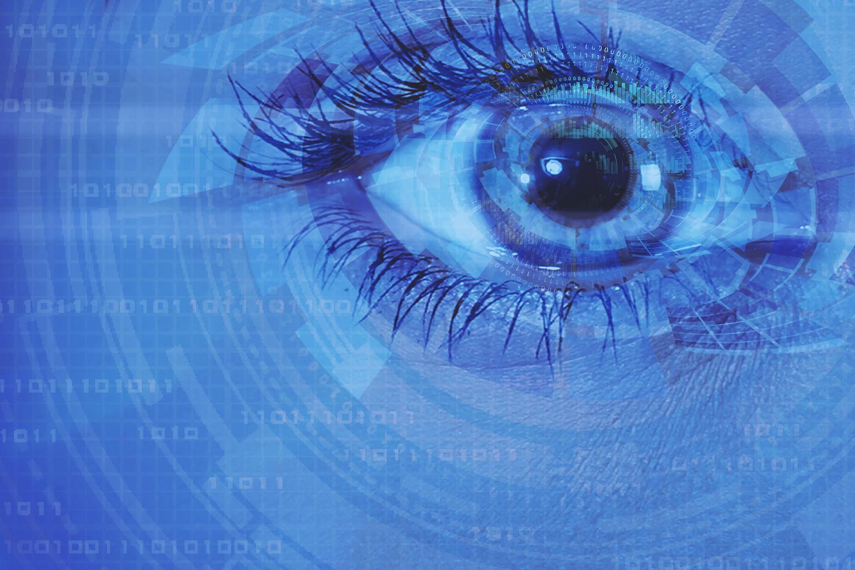Diagrama de un ojo en azul