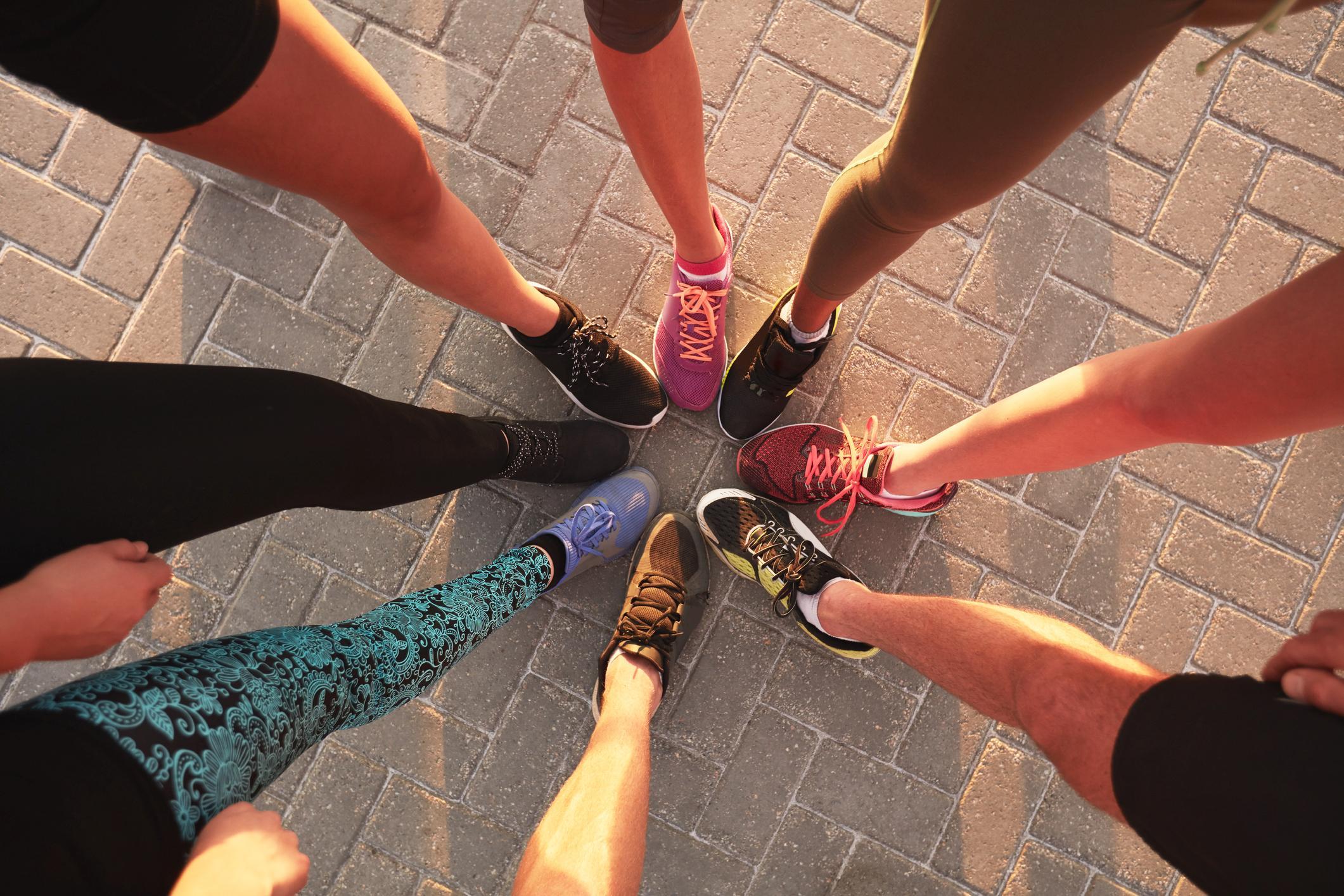 Pies grupo de corredoras