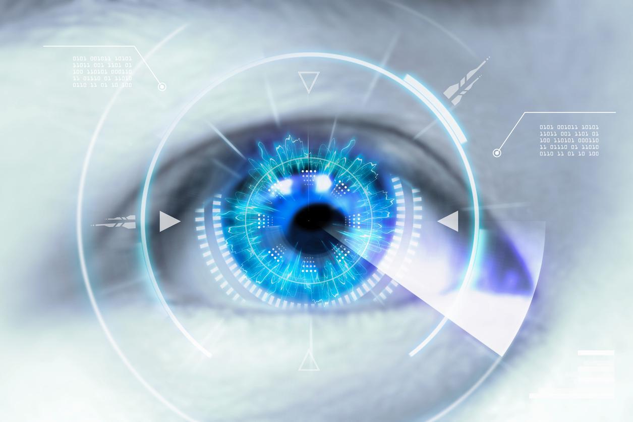 Diagrama blanco sobre infografía de ojo azul