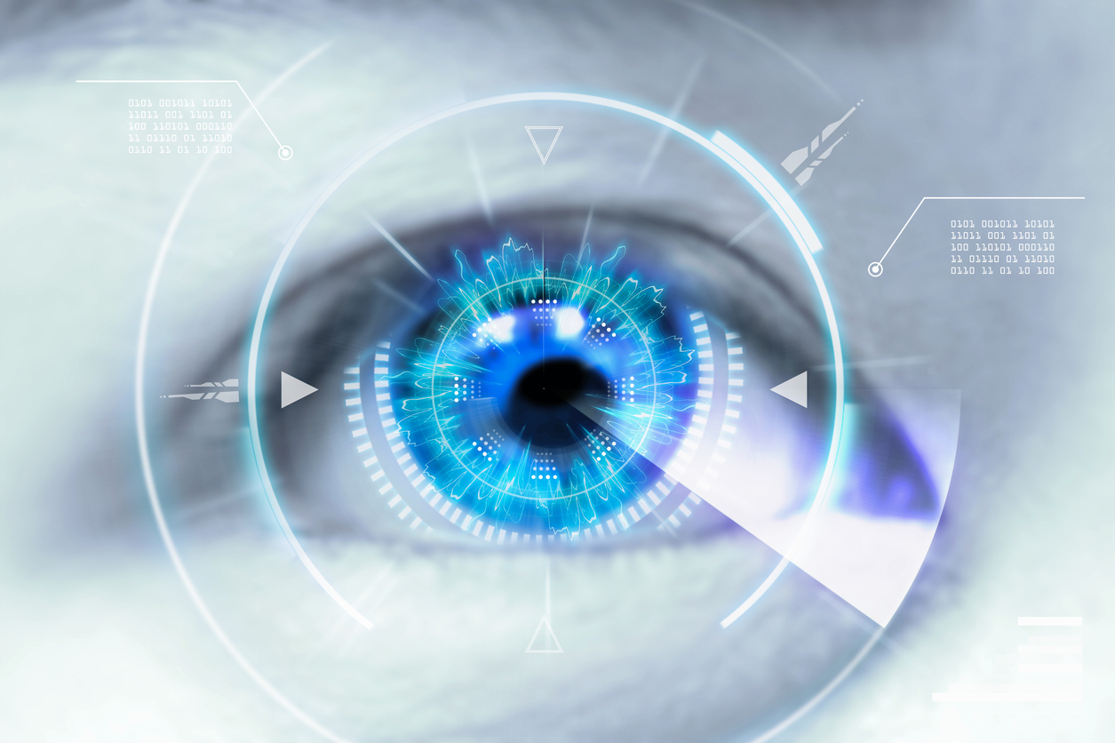 Ilustración ojo azul con diagrama blanco