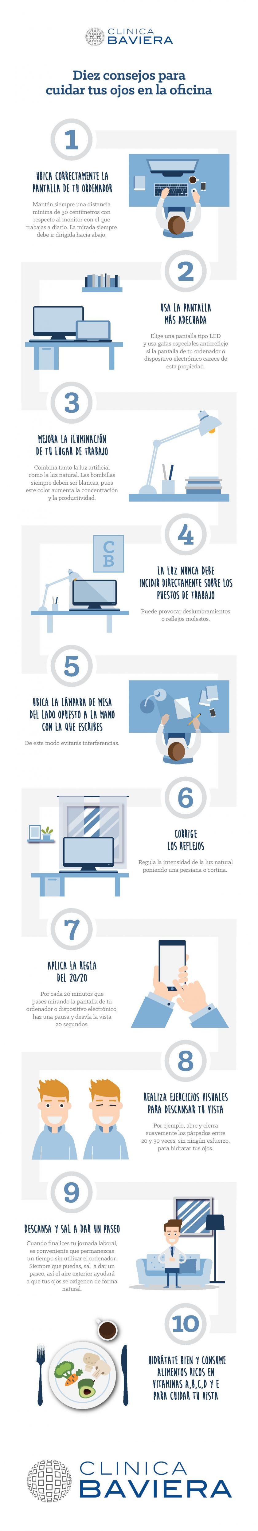 Infografía 10 consejos para cuidar tus ojos en la oficina