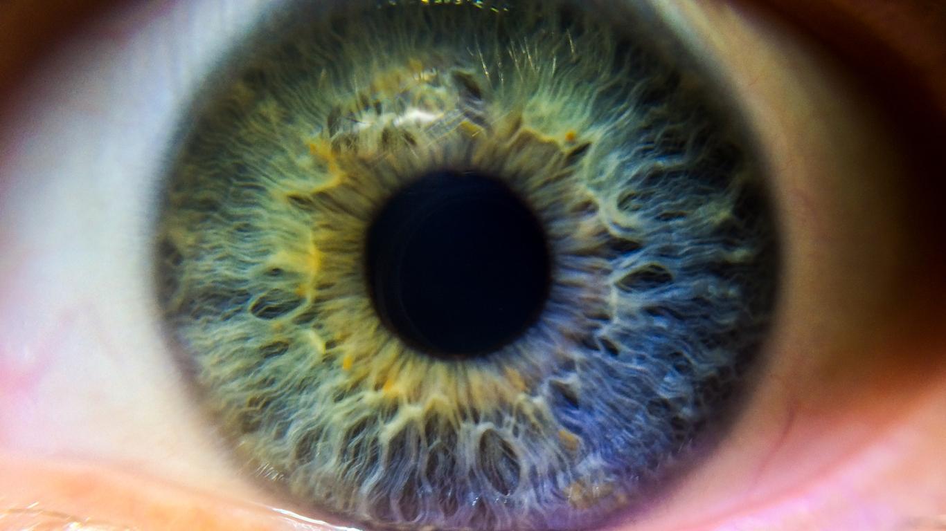 Ojo con reflejos verdes, azules y amarillos