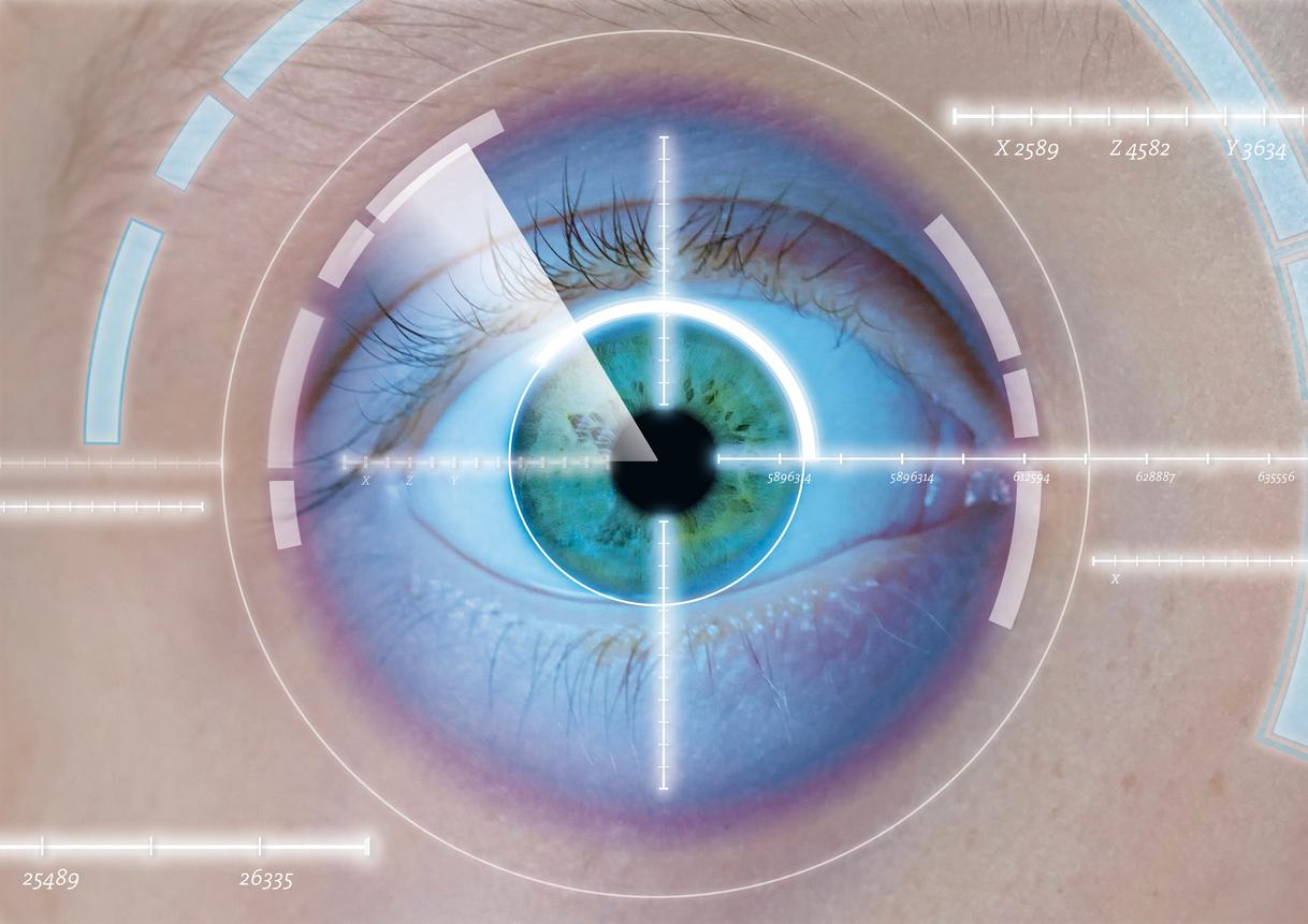 Infografía de ojo verde con diagrama blanco