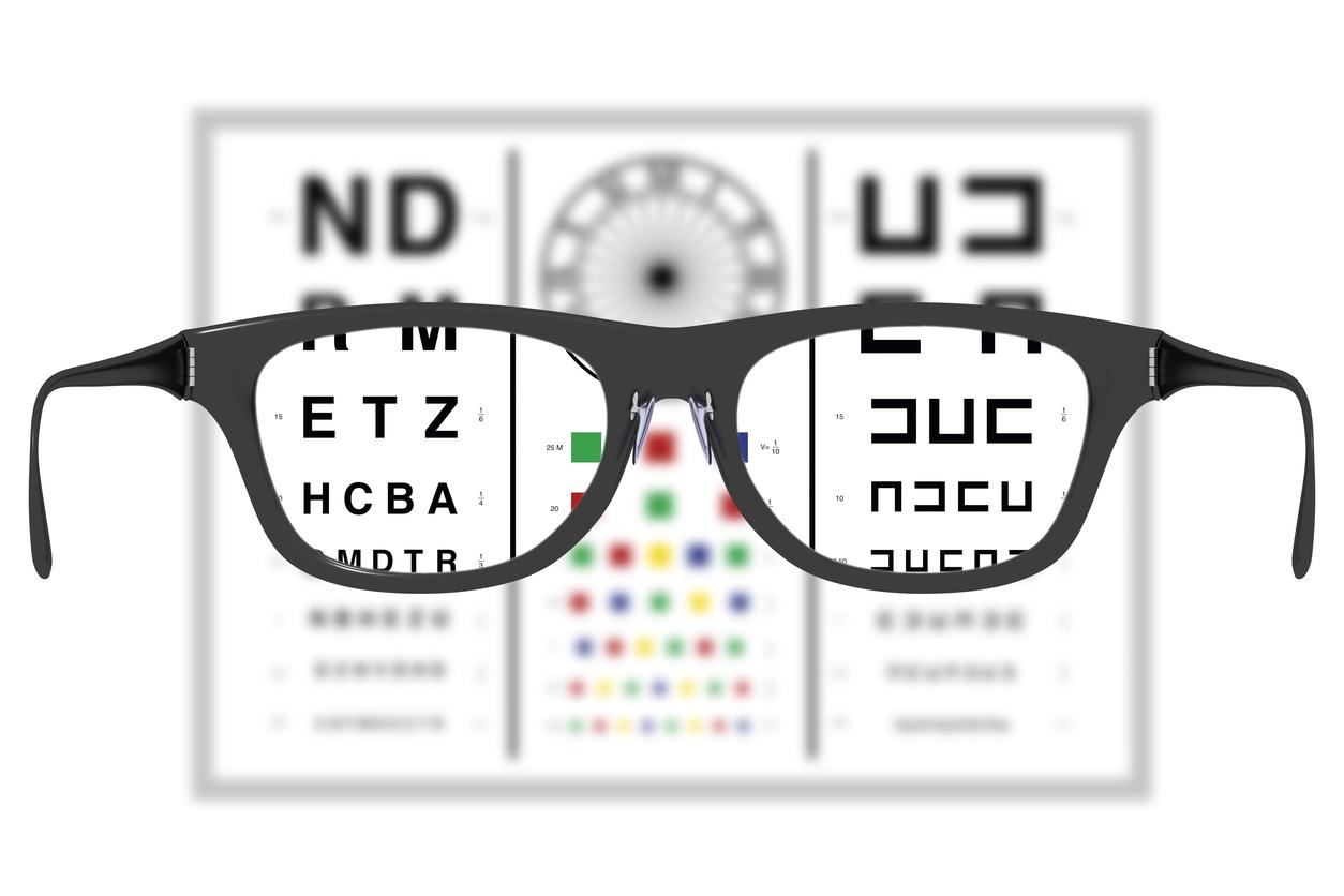 Gafas negras enfocando tres optotipos