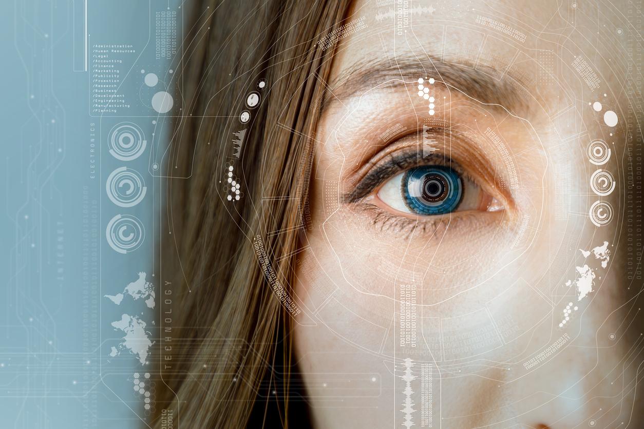 Mujer castaña con ojos azules y diagrama blanco de láser