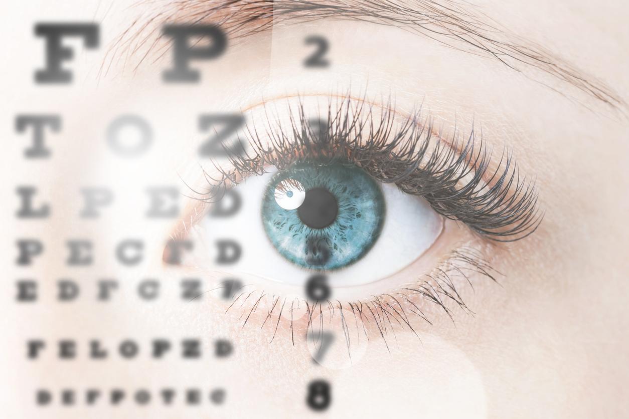 Primer plano de un ojo humano realizando un test de agudeza visual