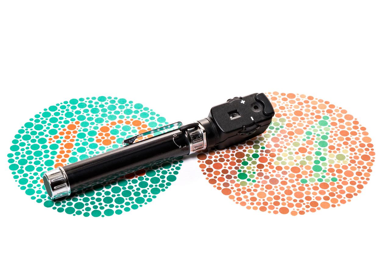 Diagrama de pruebas de color y oftalmoscopio para test de ishihara