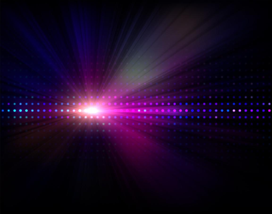 Luz azul led sobre fondo negro a simular la visión con gafas luz azul