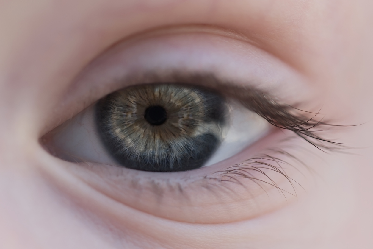 Ojo azul y verde con reflejo blanco