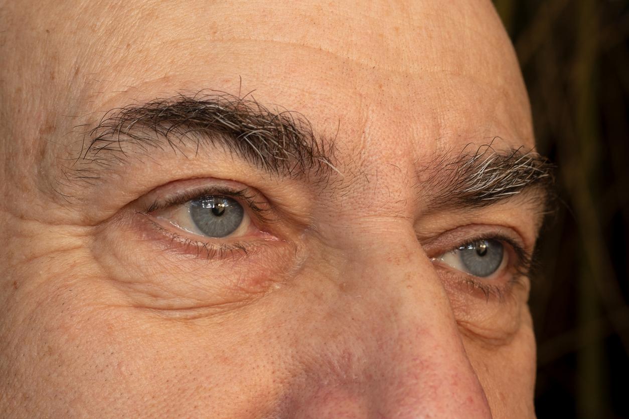 Primer plano ojos y cejas de hombre