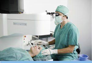 Médico y paciente cirugía refractiva láser en quirófano